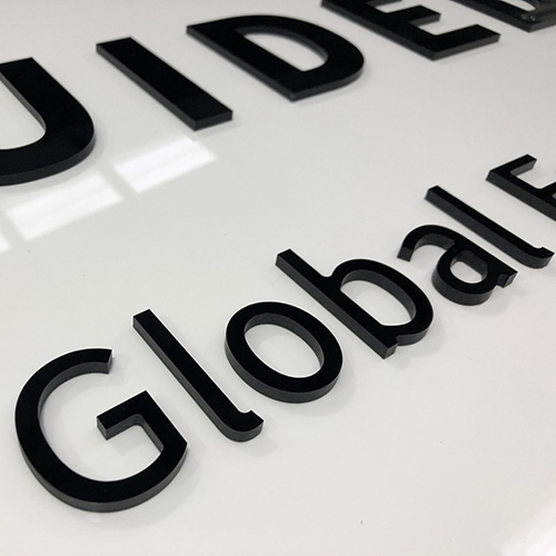 Acrylic Letters cut to shape with our CNC Flatbed Printer.