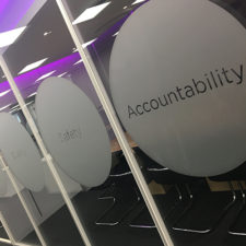 Etch Vinyl Circles to promote the companies Brand Values. This is an affordable and easy way of providing privacy for meeting rooms and offices.