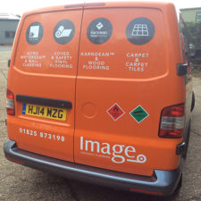 Wrapped back doors create contrast between the rest of the van and promotes the company colours.