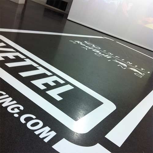 Printed Vinyl with a Floor Laminate to create a scratch proof Floor Graphic for exhibitions, retail, schools and much more.