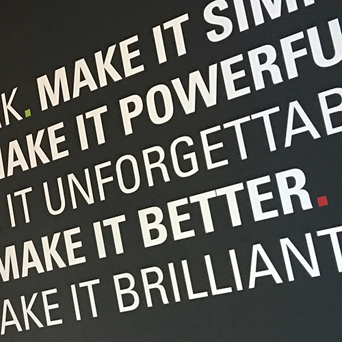 Vinyl Lettering is ideal for adding colour and inspiring messages to any plain walls in your office, meeting room and reception.